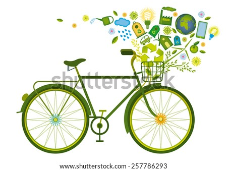 bicycle with green icons in its basket - stock vector