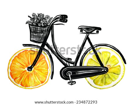 bicycle with hand drawn watercolor citrus wheels - stock vector