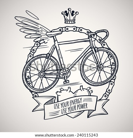bicycle with wings, doodle style vector illustration - stock vector