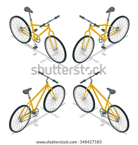 Bicycles, Bicycle icon, Bicycle isometric, Bicycle eco transport, Bicycle wheel, Bicycle race, Bicycle sport, bicycle vector, Bicycle modern, bicycle vector, bicycle parts, bicicleta isolated - stock vector