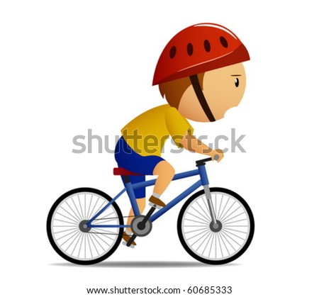 Bicyclist in yellow shirt - stock vector