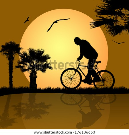 bicyclist on the abstract background - stock vector