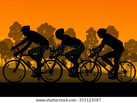 Bicyclist riding bicycle group marathon background silhouette vector illustration landscape with sunset - stock vector