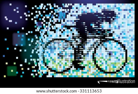 Bicyclist. Style of pixel art. Vector illustration - stock vector