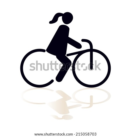 Bicyclists man icon with shadow, isolated black on white background, abstract vector symbol - stock vector