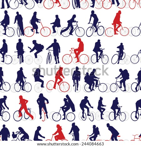 Bicyclists Swatch - stock vector