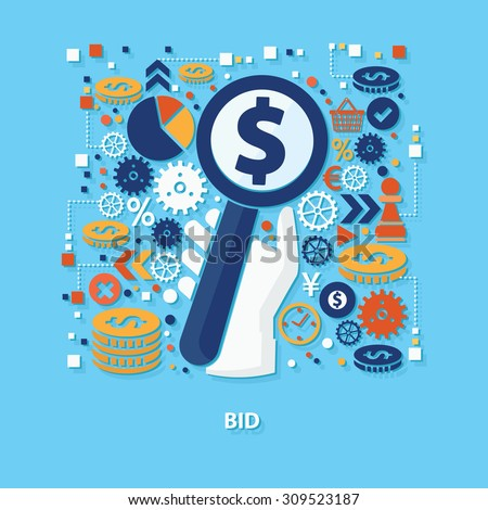Bid concept design on blue background,clean vector - stock vector