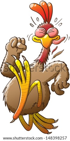 Big and nice chicken doing his best effort to run extremely fast and escape from an unknown danger while clenching his right fist, closing his eyes tightly and sticking out his tongue - stock vector