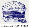 Big and tasty hamburger. Sketch vector - stock vector