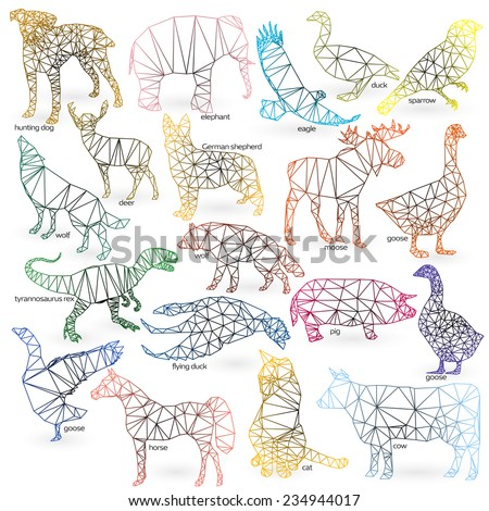 Big animals set triangle style. Cat, hunting dog, German shepherd, goose, moose, goose, sparrow, tyrannosaurus Rex, elephant, flying duck, pig, cow, wolf, eagle, horse, deer  - stock vector