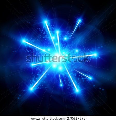 big bang blue matter - vector technology illustration / eps10 - stock vector