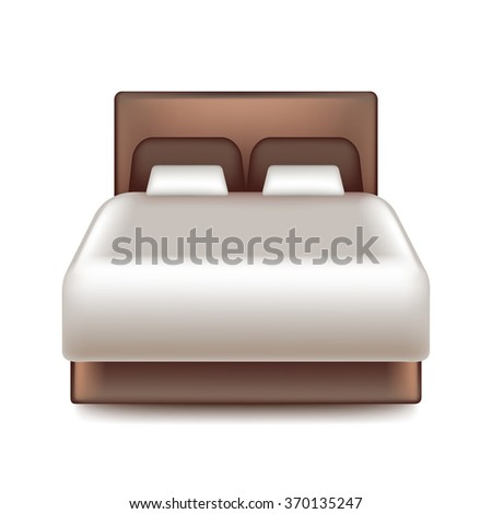 Big bed isolated on white photo-realistic vector illustration - stock vector