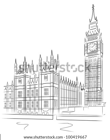 Big Ben and House of Parliament, London, UK - stock vector