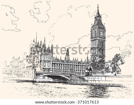 Big Ben and Houses of Parliament, Westminster, London, hand-drawing, vector illustration. - stock vector