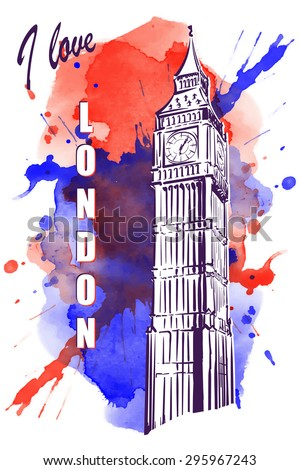 Big Ben drawn in a simple sketch style. Isolated contour on watercolor spot. EPS10 vector illustration. - stock vector