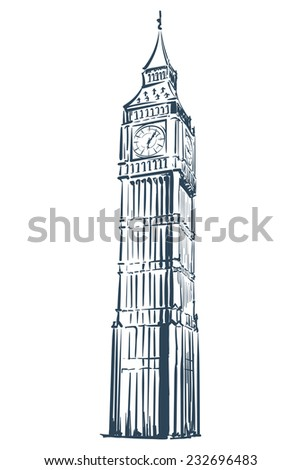 Big Ben drawn in a simple sketch style. Isolated contour on white background. EPS8 vector illustration. - stock vector