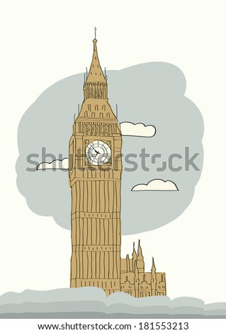 Big Ben, London, England, UK. Hand Drawn Illustration. Vector background - stock vector