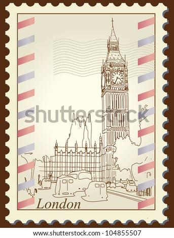 Big Ben London stamp | Editable Illustration - stock vector