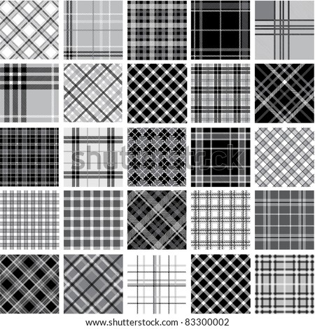 Big black & white plaid patterns set - stock vector