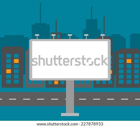 Big blank billboard in the city at night near road, vector illustration - stock vector