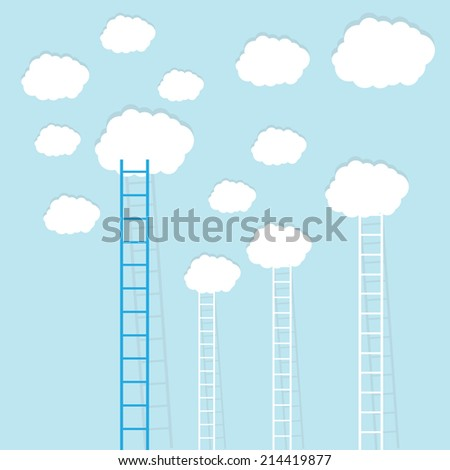 big blue ladder from cloud with small white ones. goal setting business concept background - stock vector