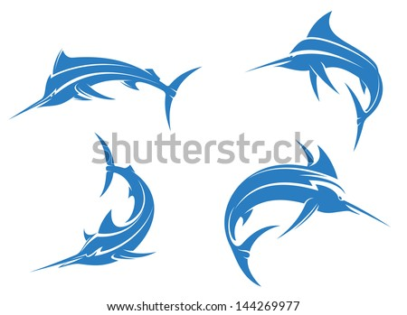 Big blue marlins with sharp nose isolated on white background for fishing sport design or idea of logo. Jpeg version also available in gallery - stock vector