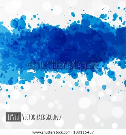 Big blue splash on white glowing background. Vector illustration.  - stock vector