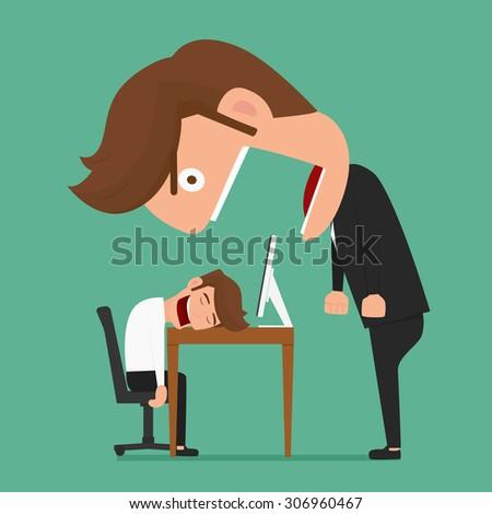 Big boss angry businessman was asleep during work. Cartoon Vector Illustration. - stock vector
