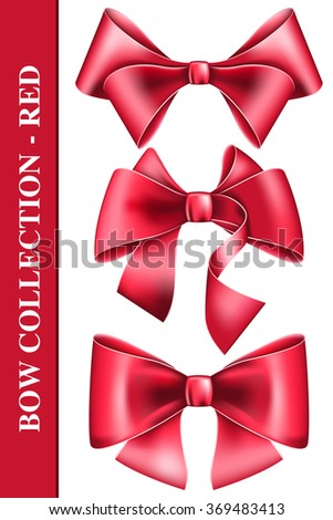 Big bow collection - stock vector