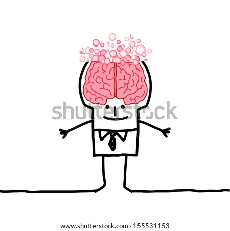 big brain man & bubbles - stock vector