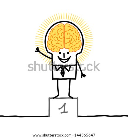 big brain man & excellence - stock vector