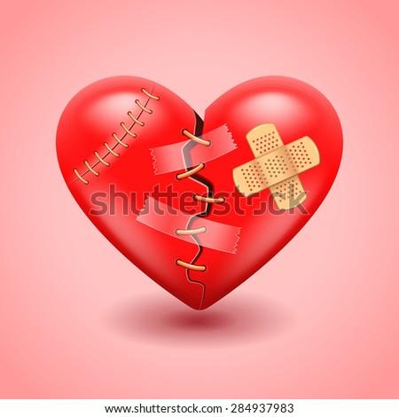 Big broken heart photo realistic vector background - stock vector