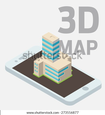Big building atop isometric smarthpone. - stock vector