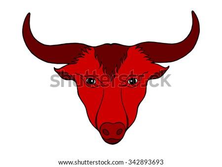 big bull with big red horn head logo symbol, vector illustration design, hand drawn - stock vector