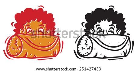 Big Burrito Icon - Graphic Icon with Offset fill - stock vector