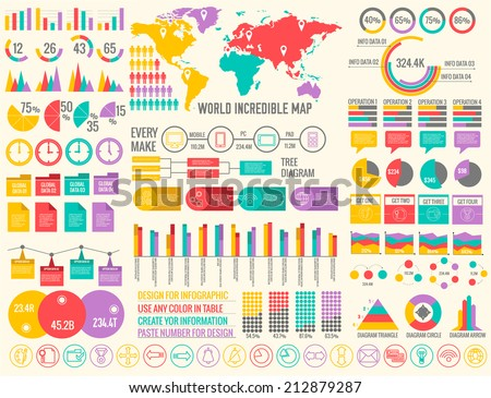 big business flat infographic elements set for design in vintage colors. Vector illustration concept - stock vector