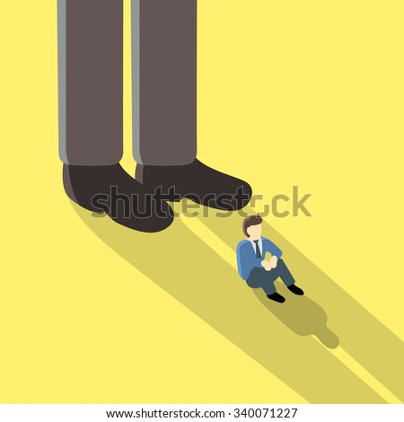 Big businessman is overshadow to small businessman on yellow background