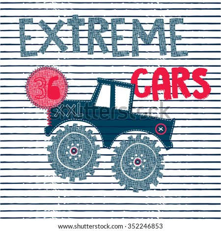 big car cartoon on striped background, extreme cars, T-shirt design for boys vector illustration - stock vector