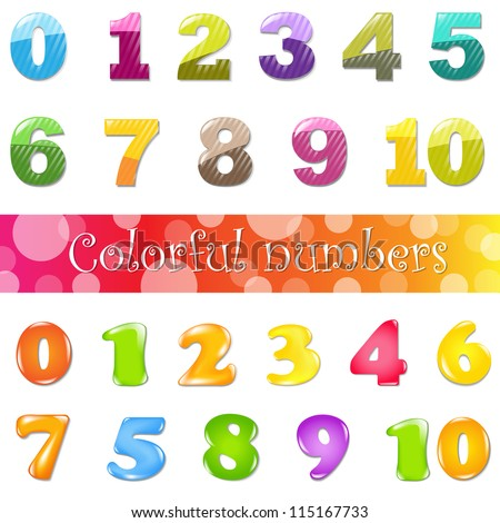Big Cartoon Numbers Set, Isolated On White Background, Vector Illustration - stock vector
