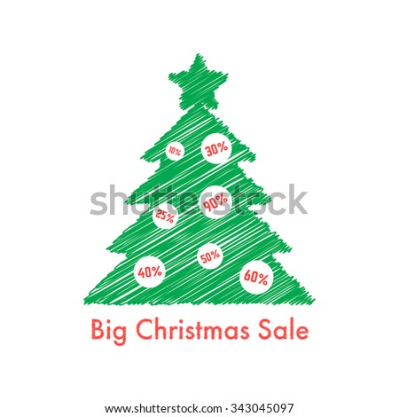 big christmas sale with scribble fir tree. concept of festive, flyer art, bargain sale, special holiday offer. isolated on white background. flat style trend modern logo design vector illustration - stock vector