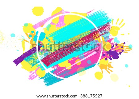 Big circle frame made of colored handprints. Vector illustration. Great banner for graphic or web design - stock vector