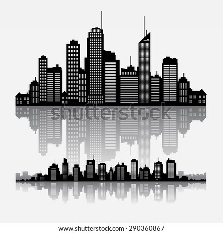 Big cities skyline buidlings with reflection - stock vector