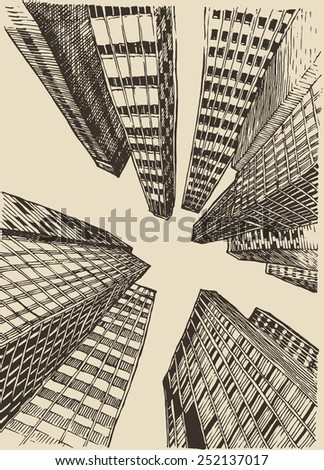Big city, architecture, engraved illustration, hand drawn, sketch - stock vector