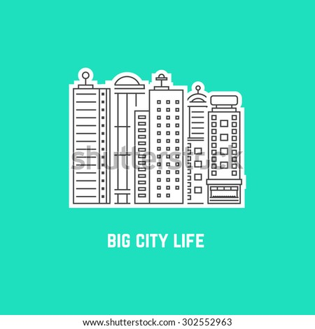 big city life with outline skyscrapers. concept of downtown, center, office, metropolis, residential, life. isolated on green background. flat style trend modern logo design vector illustration - stock vector