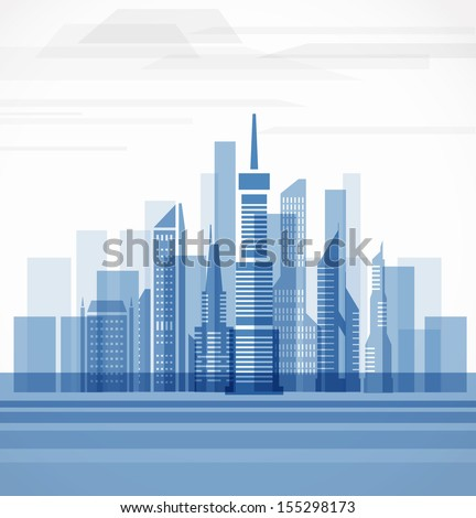 Big city on the river. Vector illustration - stock vector
