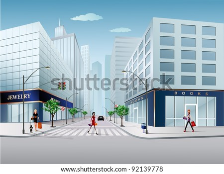 big city scene - stock vector