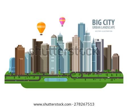 Big city vector logo design template. Construction, building or real estate icon. - stock vector