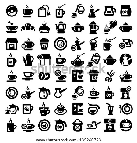 Big Coffee And Tea Icons Set Created For Mobile, Web And Applications. - stock vector
