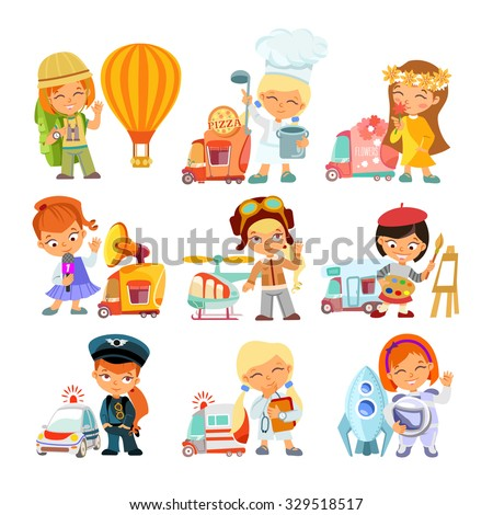 Big collection of cartoon little girls in various professions with vehicles. Traveler,cook,florist,journalist,pilot,painter,doctor,astronaut. Vector illustrations isolated on white background - stock vector