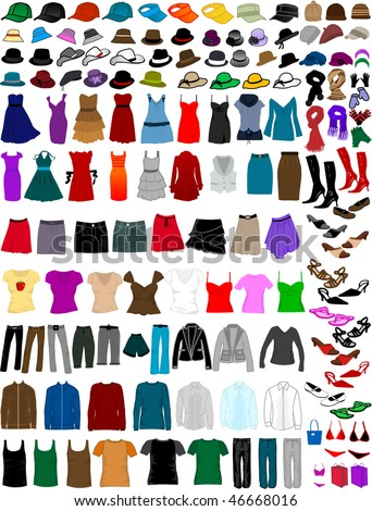 big collection of clothes and accessories - stock vector